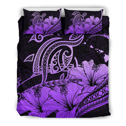 Hawaii Turtle Map Polynesian Violet Bedding Set Safety