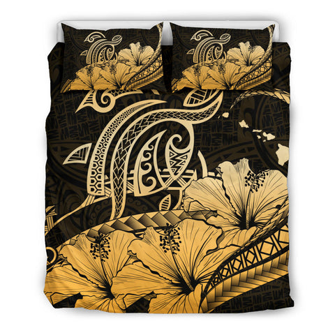 Hawaii Turtle Map Polynesian Gold Bedding Set Safety