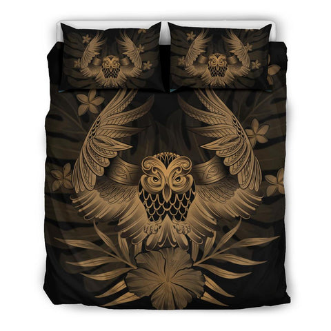 Alohawaii Bedding Set - Hawaii Owl Hibiscus Plumeria Bedding Set