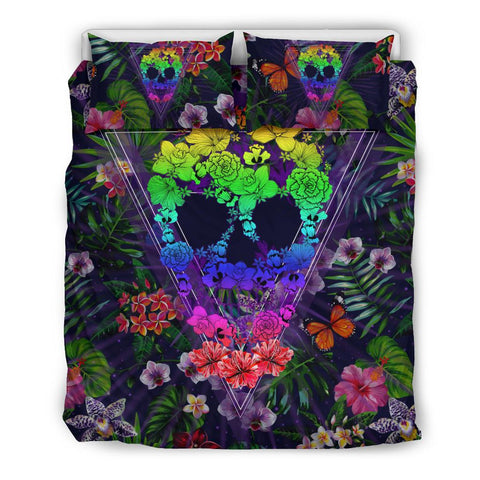 Hawaii Skull Tropical Hibiscus Plumeria Flower Bedding Set