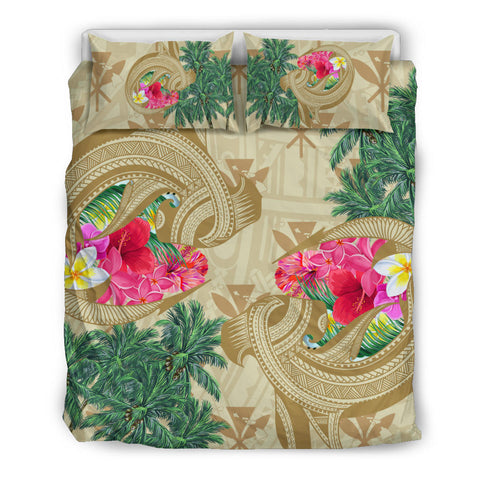 Image of Hawaii Kanaka Maoli Plumeria Palm Trees Hammer Shark Bedding Set - AH - J5 - Alohawaii