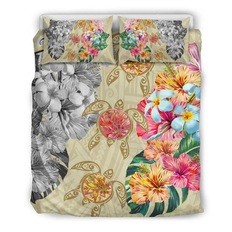 Image of Hawaii Polynesian Flowers Swimming Turtles Bedding Set