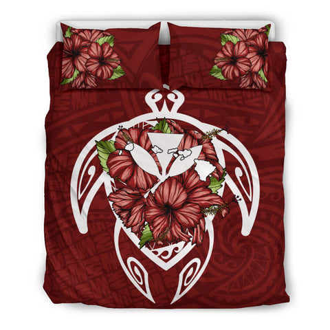 Alohawaii Bedding Set - Hawaii Turtle Hibiscus Polynesian Bedding Set - Red Three - AH J4 - Alohawaii