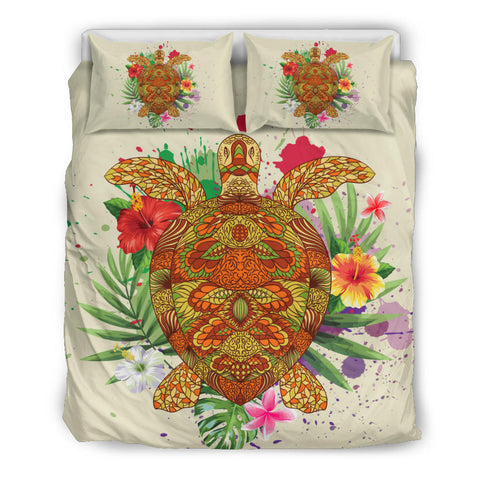 Image of Hawaii Turtle Life Hibiscus Design Bedding Set
