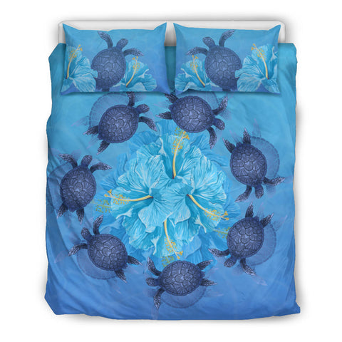 Hawaii Turtle Hibiscus Blue Bedding Set