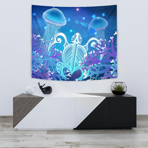 Hawaii Turtle Jellyfish Coral Galaxy Tapestry - AH - J4 - Alohawaii