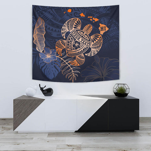 Personalized - Hawaii Kakau Polynesian Turtle Map Tapestry