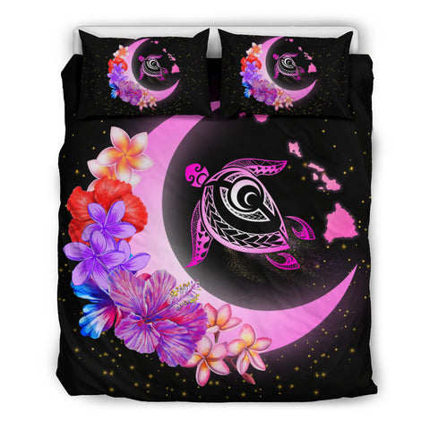 Hawaii Map Moon Star Turtle Plumeria Hibiscus Bedding Set