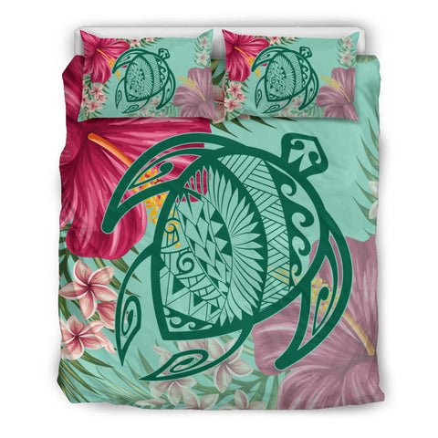 Hawaii Turtle Hibiscus Plumeria Bedding Set - Hug Style