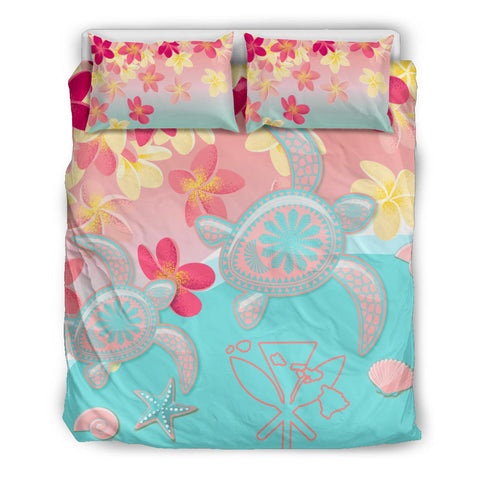 Hawaii Sea Turtle Plumeria Bedding Set