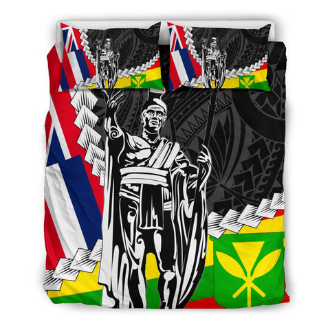 Hawaii Two Flag Kanaka Maoli King Polynesian Bedding Set