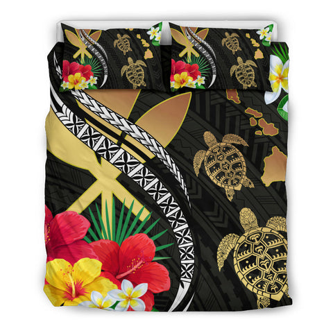 Hawaii Map Turtle Hibiscus Plumeria Polynesian - Bedding Set AH J2