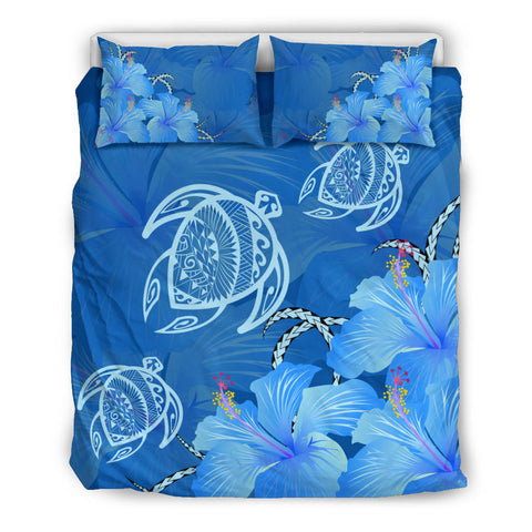 Hawaii Blue Hibiscus Turtle Polynesian Bedding Set