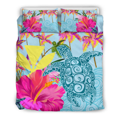Hawaii Sea Turtle Hibiscus Kanaka Bedding Set