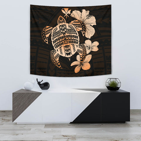 Hawaiian Kanaka Hibiscus Plumeria Mix Polynesian Turtle Tapestry Orange AH J1