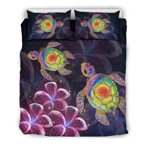 Hawaii Galaxy Turtle Hibiscus Bedding Set