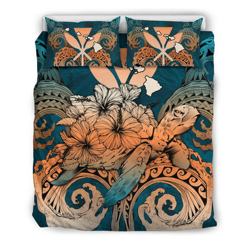 Image of Hawaii Turtle Wave Polynesian Bedding Set - Hey Style Orange - AH - J4 - Alohawaii