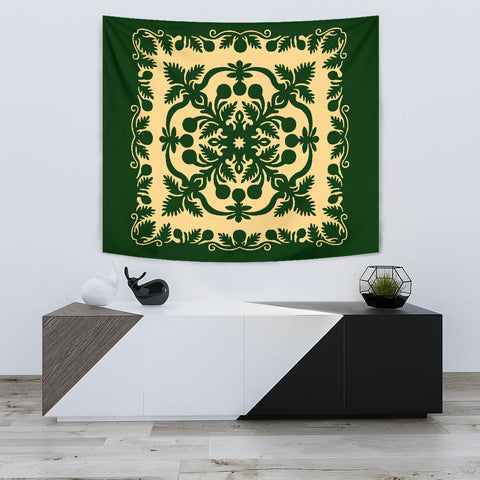 Hawaiian Tapestry Royal Pattern - Emerald Green