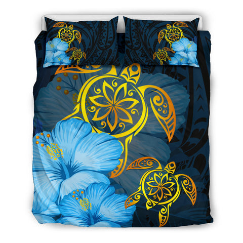 Hawaii Bedding Set - Turtle Hibiscus Pattern Hawaiian Bedding Set - Blue - AH - J2