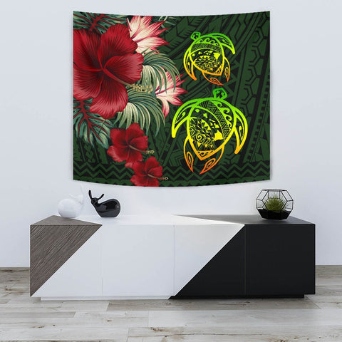 Hawaii Tapestry - Turtle Hibiscus Pattern Hawaiian Tapestry - Green