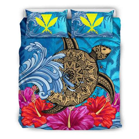 Hawaii Sea Turtle Hibiscus Coconut Tree Bedding Set