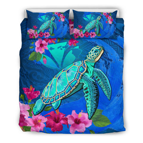 Hawaii Honu Aumakua Sea Hibiscus Bedding Set