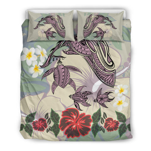 Hawaii Turtle Shark Hibiscus Bedding Set - Beige - LH Style - AH - J3