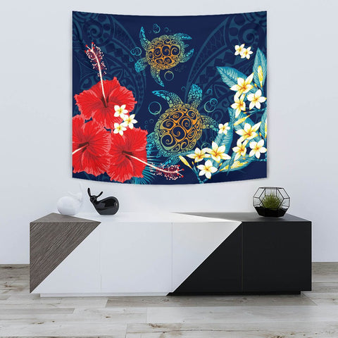 Hawaiian Turtle Hibiscus Polynesian Tapestry - Blue - Edna Style