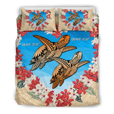 (Personalize) Hawaii Turtle Hibiscus Polynesian Valentines Bedding Set