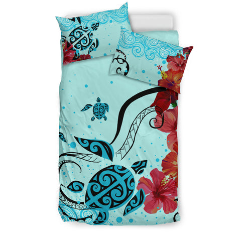 Image of Hawaiian Sea Turtle Hibiscus Brilliant Polynesian Bedding Set - AH - J1 - Alohawaii