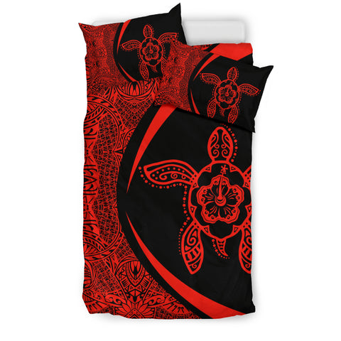 Image of Hawaiian Hibiscus Turtle Polynesian Bedding Set-Circle Style Red - AH - J7 - Alohawaii