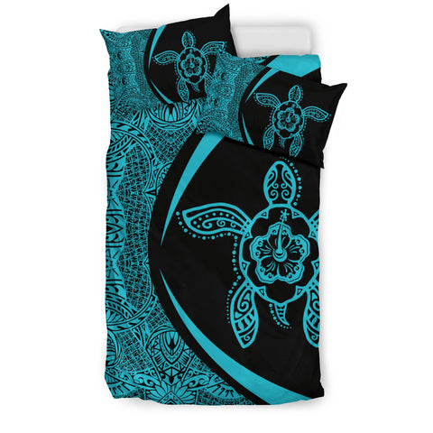 Hawaiian Hibiscus Turtle Polynesian Bedding Set-Circle Style Blue - AH - J7 - Alohawaii