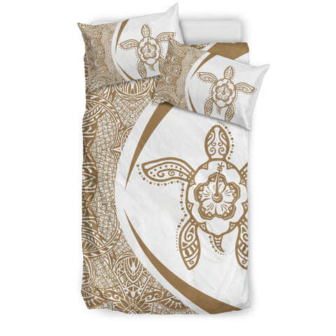 Image of Hawaiian Hibiscus Turtle PolynesianBedding Set-Circle Style Gold And White - AH - J7 - Alohawaii