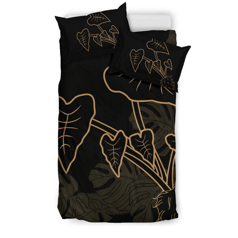 Hawaiian Monstera Kalo Gold Bedding Set - AH - J1 - Alohawaii