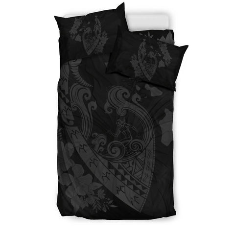 Image of Hawaiian Fish Hook Hibiscus Banzai Surfing Polynesian Bedding Set Grey - AH - J5 - Alohawaii