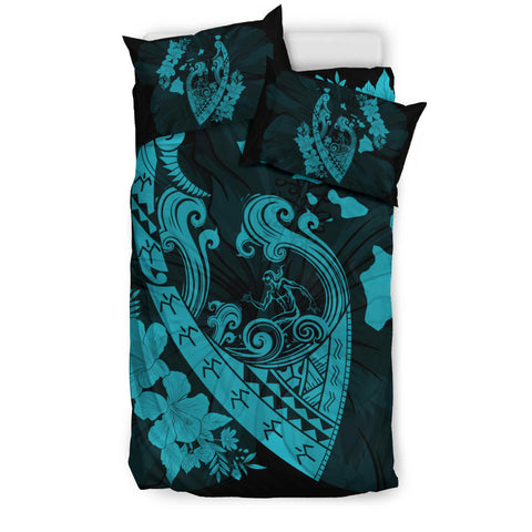 Image of Hawaiian Fish Hook Hibiscus Banzai Surfing Polynesian Bedding Set Blue - AH - J5 - Alohawaii