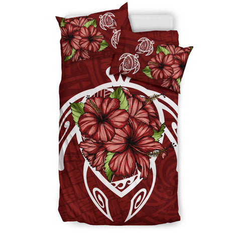 Alohawaii Bedding Set - Hawaii Turtle Hibiscus Polynesian Bedding Set - Red One - AH J4 - Alohawaii