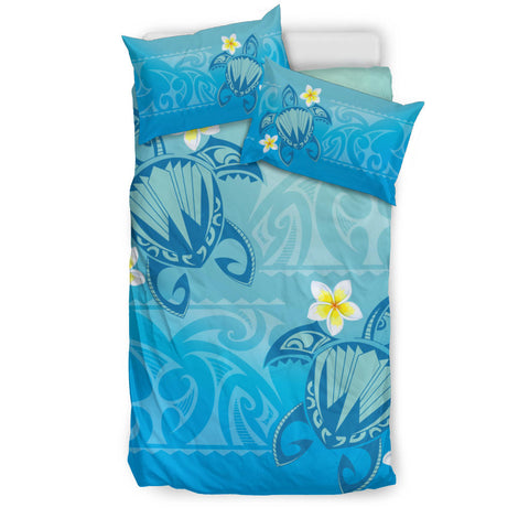 Image of Hawaii Plumeria Deep Blue Turtle Bedding Set - AH - J5 - Alohawaii