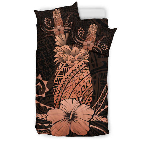 Hawaii Polynesian Pineapple Hibiscus Bedding Set - Zela Style Orange