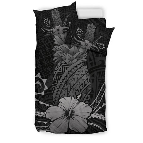 Hawaii Polynesian Pineapple Hibiscus Bedding Set - Zela Style Gray
