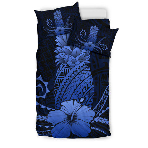 Hawaii Polynesian Pineapple Hibiscus Bedding Set - Zela Style Blue