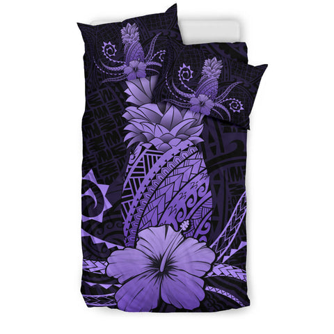 Hawaii Polynesian Pineapple Hibiscus Bedding Set - Zela Style Purple