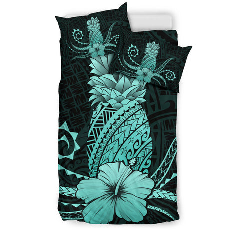 Hawaii Polynesian Pineapple Hibiscus Bedding Set - Zela Style Turquoise