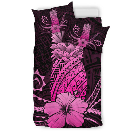 Hawaii Polynesian Pineapple Hibiscus Bedding Set - Zela Style Pink