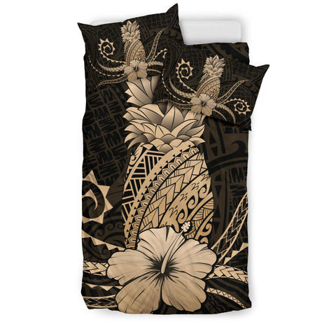 Hawaii Polynesian Pineapple Hibiscus Bedding Set - Zela Style Gold