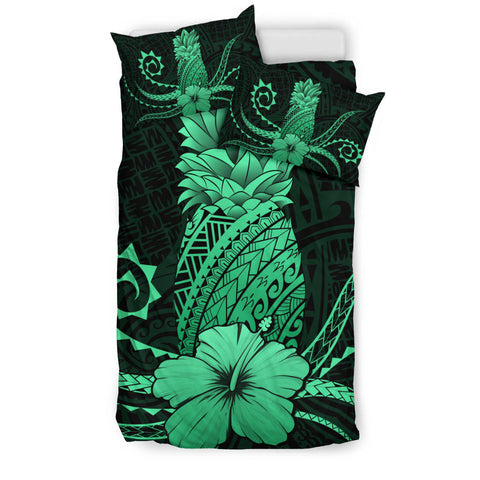 Hawaii Polynesian Pineapple Hibiscus Bedding Set - Zela Style Green