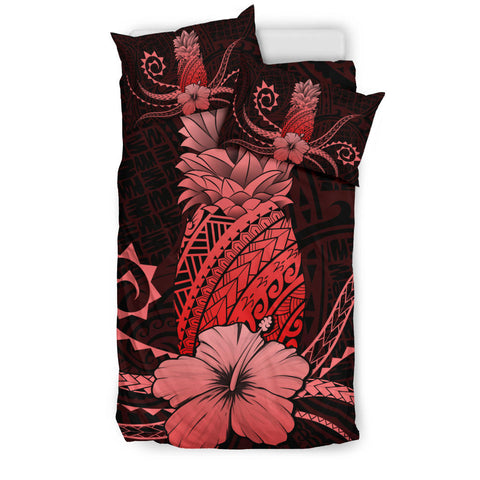 Hawaii Polynesian Pineapple Hibiscus Bedding Set - Zela Style Red