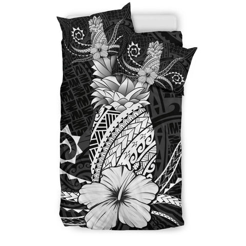 Hawaii Polynesian Pineapple Hibiscus Bedding Set - Zela Style White