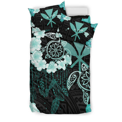 Image of Hawaii Dream Catcher Turtle Hibiscus Plumeria Polynesian Turquoise  - Bedding Set AH J2