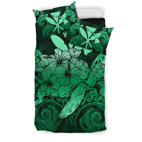 Image of Hawaii Turtle Wave Polynesian Bedding Set - Hey Style Green Pastel - AH - J4 - Alohawaii
